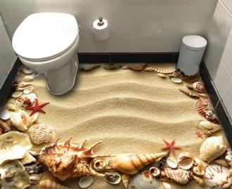 """Фотообои для пола """"Золотой песок, ракушки, морские звезды"""""""