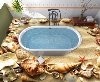 """Линолеум """"Золотой песок, ракушки, морские звезды"""". Напольное покрытие купить."""