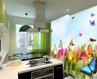 Плитка с рисунком на стену для кухни вариант №2