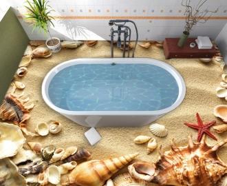 """Линолеум  """"Золотой песок, морские ракушки и звезда"""". Напольное покрытие купить."""