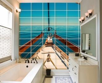 """Плитка  с рисунком """" Корабль, путешествия, море"""""""