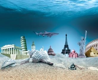 """Плитка с рисунком """" Акула, исторические памятники культуры, на дне"""""""