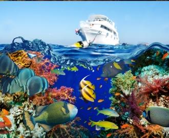 """Плитка с рисунком """"Корабль, море, рыбки"""""""