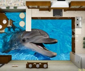 """3D обои для пола Фото Цена """"Весёлый Дельфин"""""""