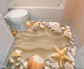 """Линолеум  """"Белый морской песок, ракушки"""". Напольное покрытие купить."""