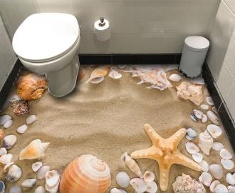 """Фотообои для пола """"Белый морской песок, ракушки"""""""