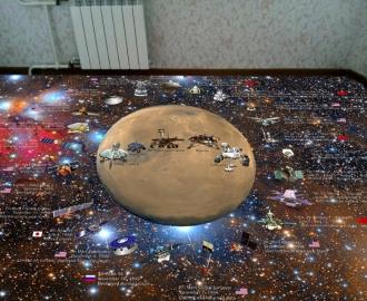 """Линолеум """"Космос, планета, спутники, звезды"""". Напольное покрытие купить."""