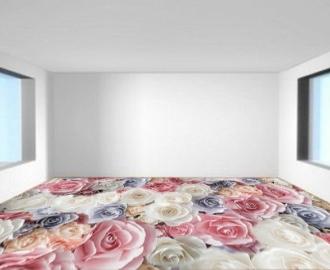 """Обои для пола """"Розы розовые, белые"""", купить. Наклейка, печать для наливного пола."""
