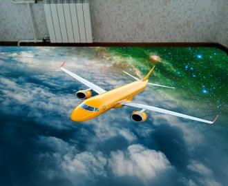 """Линолеум с рисунком """"Зеленый, желтый самолет, небо, звезды"""" Напольное покрытие купить."""