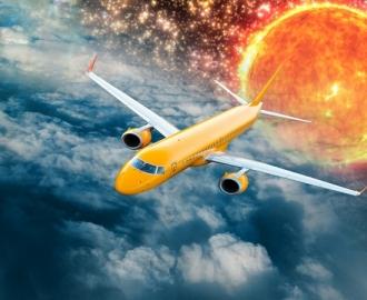 """Линолеум с рисунком """"Голубой, самолет, звезды, облака"""" Напольное покрытие купить."""