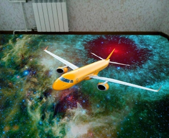 """Линолеум """"Красная планета, звездное небо, самолет"""" Напольное покрытие купить."""