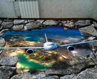 """Линолеум """"Стена, дыра, кирпич, самолет, планета земля"""" Напольное покрытие купить."""