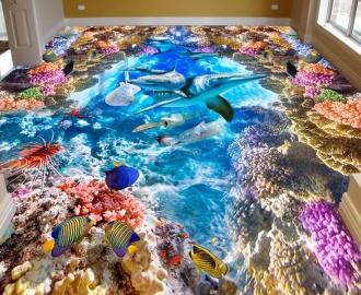 """Линолеум """"Дельфины, рыбки, кораллы, море"""". Напольное покрытие купить"""