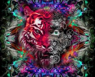 """Линолеум с рисунком """"Абстракция, Тигр"""" купить"""