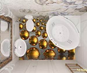 """3D обои для пола Фото Цена """"Абстракция Золотые шары"""" вариант №5"""