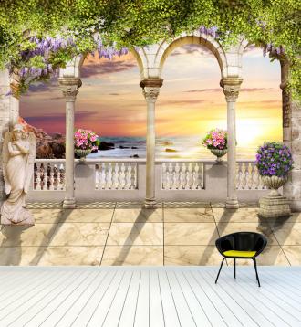 """Фотообои Фреска """"Средневековая арка, зелень, вид на море"""""""