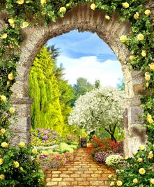 "Фотообои Фреска ""Кирпичная арка, розы, дорога"""