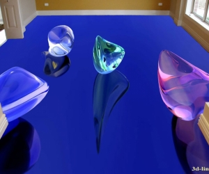 """3D обои для пола Фото Цена """"Стеклянные камни"""" вариант №6"""