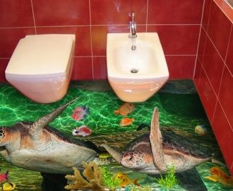 """Линолеум с рисунком """"Черепахи, рыбки"""" в туалет купить"""