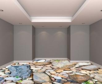 """Обои для пола в комнату """"Камни большие и маленькие"""" купить визуализация №3"""