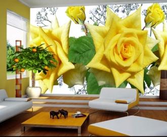 """Фотообои купить самоклеющиеся """"Желтые розы на любой фон"""""""