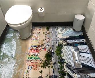 """Линолеум с рисунком """"Пляж, вид сверху"""" купить"""