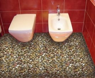 """Обои для пола в туалет """"Береговые камушки"""" купить визуализация №2"""