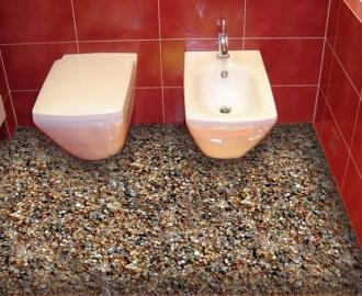 """Обои для пола в туалет """"Морские камушки"""" купить визуализация №2"""