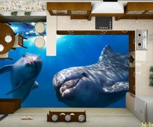"""3D обои для пола Фото Цена """"Дружные Дельфины"""""""