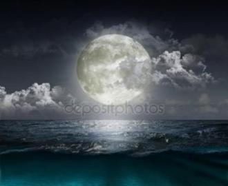 """Фотообои на стену купить """"Полная луна, ночь, вода"""""""