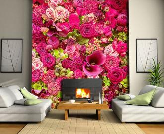 """Фотообои на стену """"Розы, розовая стена"""""""