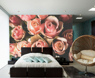 """Фотообои на стену """"Розы розовые"""" дымка"""