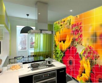 Плитка с рисунком на стену для кухни вариант №4