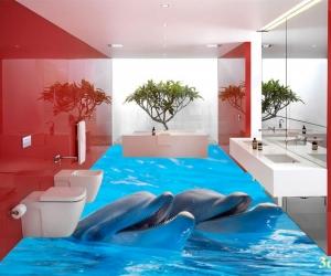 """3D обои для пола Фото Цена """"Два Дельфина"""""""