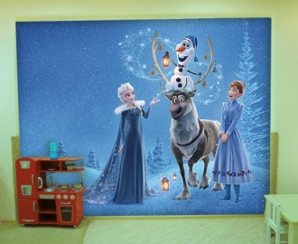 """Фотообои для детской комнаты """"Анна, Эльза и Свен"""" . Фото, цена."""