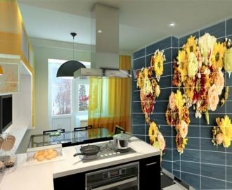 """Плитка с рисунком на стену для кухни """"Цветы, карта мира"""""""