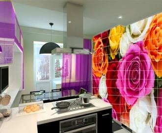 """Плитка с рисунком на стену для кухни """"Розы"""""""