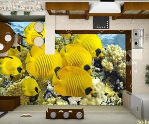 """3D обои для пола Фото Цена """"Желтые рыбы"""""""