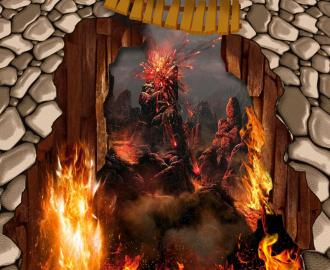 """Линолеум красивый """"Пропасть, огонь, обрыв, мостик"""" купить"""