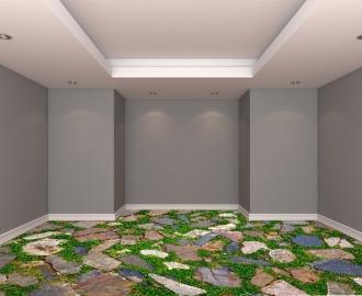 """Обои для пола в комнату """"Мозаика, камни, трава"""" купить визуализация №2"""