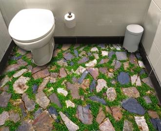"Линолеум с рисунком ""Мозаика, камни, трава"" купить"