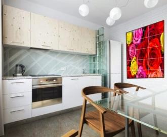 Плитка с рисунком на стену для кухни РОЗЫ КРАСНЫЕ И ЖЕЛТЫЕ