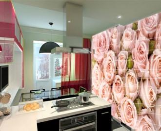"""Плитка с рисунком на стену для кухни """"Нежные розы"""""""