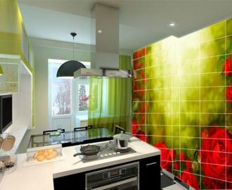 """Плитка с рисунком на стену для кухни """"Красные розы, лучи солнца"""""""