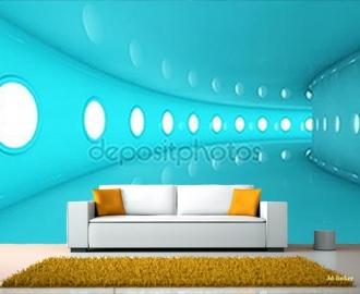 """Фотообои на стену купить """"Голубой тоннель"""""""