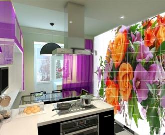 Плитка с рисунком на стену для кухни РОЗЫ МАЛЬВА