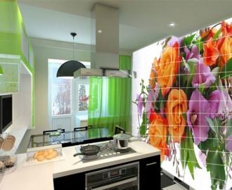 """Плитка с рисунком на стену для кухни """"Розы, мальва"""""""