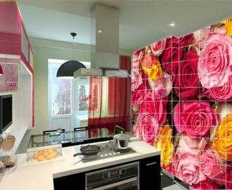 """Плитка с рисунком на стену для кухни """"Розы и розочки"""""""