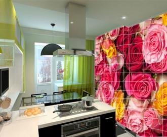 Плитка с рисунком на стену для кухни РОЗЫ И РОЗОЧКИ