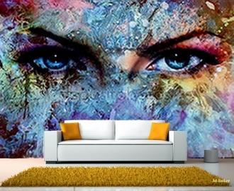 """Фотообои на стену купить """"Абстракция, глаза, краски"""""""